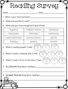 Free Reading Interest Survey {Back to School} Interest Inventory Elementary, Reading Interest Inventory, Reading Interest Survey, Reading Survey, 2nd Grade Reading, Student Reading, Assessment For Learning, Reading Assessment, Reading Intervention