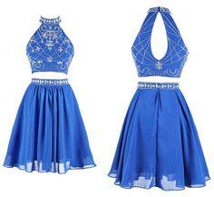 Two-piece High Neck Short Blue Chiffon Prom Dresses Homecoming Dresses,Sleeveless dress