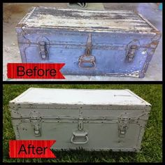 This old 1947 Army trunk was a roadside rescue. I didn't know what to do with this trunk. At first I wanted to use it in my soon-to-be baby...