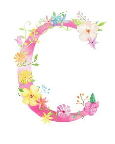 Flowers letter c PNG and Clipart Flower Text, Flower Letters, Watercolor Lettering, Floral Watercolor, Floral Font, Alphabet Wallpaper, Flower Invitation, Alphabet And Numbers, Alphabet Cards