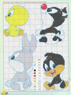 Gráficos-Piu-piu-5 Gráficos Piu piu para bordar em toalha infantil