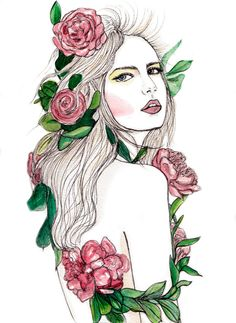 Flora & Fauna Fashion Illustration On SALE by KimLegler on Etsy