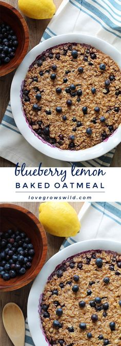 Start your morning off right with this blueberry lemon baked oatmeal! Easy to make and reheats beautifully so you can have a delicious, healthy breakfast all week long.   LoveGrowsWild.com