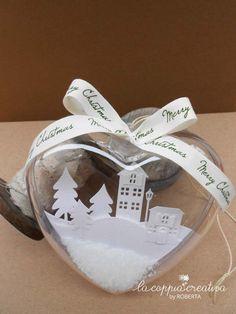 Paesaggio in un cuore - La Coppia Creativa Christmas Makes, Noel Christmas, Christmas Goodies, Christmas Crafts, Christmas Decorations, Xmas, Christmas Ornaments, Shaker Cards, Silent Night