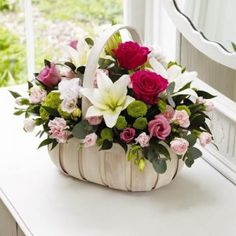 Beautiful Fresh Flower Basket Pink Arrangement