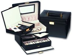 Budd Leather Ladies Classic Jewelry Box with Removable Attachment in Black -