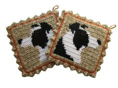 Items similar to Border Collie Pot Holders. Crochet potholders with collie dogs. dog decor on Etsy Crochet Kitchen, Crochet Home, Crochet Gifts, Knit Crochet, Dog Crafts, Yarn Crafts, Crochet Borders, Crochet Patterns, Crochet Potholders