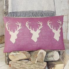 A handsome decorative piece, our plum triple stag cushion would make the perfect addition to any home, propped center stage on the sofa or head of the pillow pi Printed Cushions, Burlap Pillows, Throw Pillows, Plum Living Rooms, Country Cushions, Stag Cushion, Personalised Cushions, Burlap Crafts, Pillows