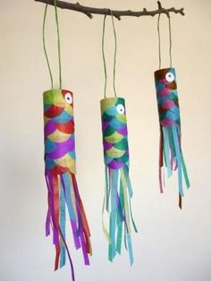 Atelier DIY koinobori - Vestido Tutorial and Ideas Paper Roll Crafts, Diy And Crafts, Arts And Crafts, Projects For Kids, Diy For Kids, Crafts For Kids, Art Lessons, Activities For Kids, Workshop
