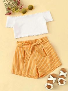 Kiddie Girls Off The Shoulder Frill Trim Bardot Top And Striped Belted Shorts Set - Kindermode Cute Comfy Outfits, Cute Casual Outfits, Cute Summer Outfits, Simple Outfits, Stylish Outfits, Tumblr Summer Outfits, Formal Outfits, Girls Fashion Clothes, Teenage Girl Outfits