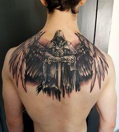 it's originally from NR Studios UK Skull Tattoos, Body Tattoos, Sleeve Tattoos, Tatoos, Archangel Tattoo, Guardian Angel Tattoo, Angel Warrior Tattoo, Religious Tattoos, Future Tattoos