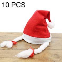 18c6d8687fa   3.64 10 PCS Christmas Decoration Napped Fabric Santa Hat Pigtails Pattern  Children Dressing Up Christmas Hat
