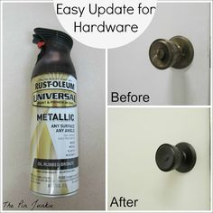 Easily update old door knobs and hardware. Make old brass door knobs look like like rubbed bronze. Old Door Knobs, Drawer Knobs, Tadelakt, Home Reno, Do It Yourself Home, Diy Home Improvement, Decorating Tips, Interior Decorating, Decoration