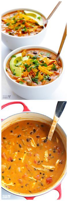 20-Minute Cheesy Chicken Enchilada Soup -- inspired by the popular soup at Chili's | http://gimmesomeoven.com #recipe