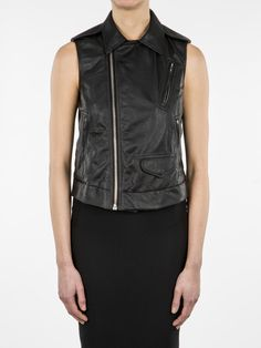 RICK OWENS SS14 VICIOUS STOOGES VEST IN BLACK LEATHER