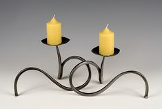 Candle Holder Pair by Rob Caperell: Metal Candleholders available at www.artfulhome.com