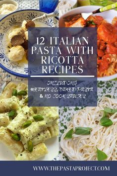 Pasta with ricotta is a traditional Italian food pairing that is used in many delicious recipes. Here are 12 authentic Italian pasta with ricotta recipes that will inspire you to try out some of the ways Italians use these two ingredients together. Italian Pasta Recipes Authentic, Popular Italian Food, Italian Recipes, Vegetarian Pasta Recipes, Cooking Recipes, Mint Pesto Recipe, Perfect Pasta Recipe, Best Pasta Dishes, Koken