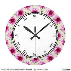 Floral Pink Garden Flowers Roman Digits Wall Clock