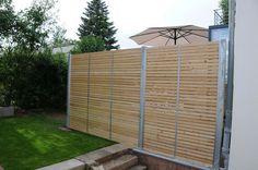 Sichtschutzzaun Holz Metall Verzinkt Lärche Höhe Grau Weiß