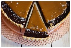 A close up on the slice of French Salted Caramel Chocolate Tart