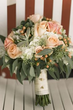 Blush, Green & Ivory Bridal Bouquet | Rustic Bridal Bouquet | Blush & Ivory Wedding Inspiration | Photo: Binford Creative, Bouquet: Haute Flowers & Events