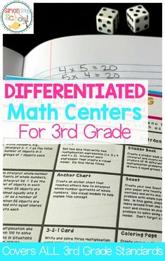 These differentiated math centers for 3rd grade are aligned with all 3rd grade standards.  Your students will love these math choice boards that will encourage student choice and creativity.  All year math centers cover fractions, geometry, measurement, numbers & operations in base ten and operations & algebraic thinking.  #differentiatedmath #teachingmath #mathcenters #3rdgrademath