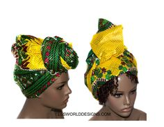 Yellow Dashiki headwrap , African headwrap ,Head wrap , Head wrap Women , Head wrap Scarf , Headwrap , accessories , African wraps,  HT164 by TessWorldDesigns on Etsy