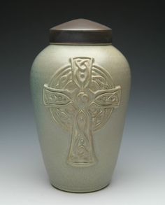 Celtic Cross Cremation Urn. Hand made in the USA with earthy and beautiful Celtic Cross emblem. #cross #urns