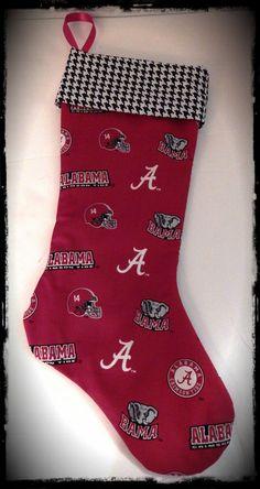 Alabama Crimson Tide Print and Houndstooth Christmas by tiffstotes, $20.00