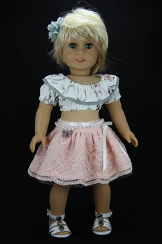 Handmade 18 inch doll clothes - OOAK peach and gray 4 piece skirt outfit (568) by DolliciousClothes on Etsy