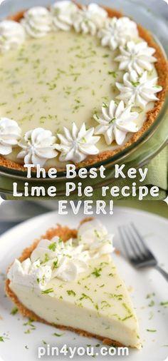 The Best Key Lime Pie recipe EVER! Tart and sweet and incredibly. Lime Recipes, Tart Recipes, Sweet Recipes, Cooking Recipes, Best Key Lime Pie, Best Pie, Key Lime Tart, Köstliche Desserts, Delicious Desserts