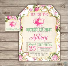 A personal favorite from my Etsy shop https://www.etsy.com/ca/listing/254673057/tea-for-two-2nd-birthday-invitations