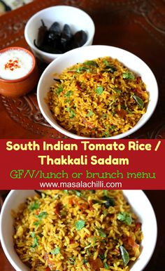 Easy to make, delicious to eat, lunch box and everyday lunch or brunch menu is South Indian tomato Rice or Thakkali Sadam Cooked Rice Recipes, Gluten Free Vegetarian Recipes, Fried Fish Recipes, Vegetarian Lunch, Veg Recipes, Vegetarian Cooking, Ground Beef Recipes, Lunch Recipes, Indian Food Recipes
