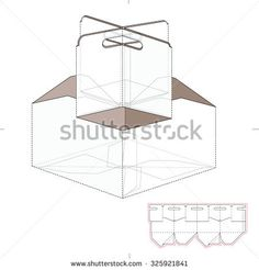 paper food tray template - 4 pack carrier template with auto bottom packaging