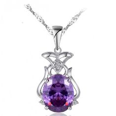 Amethyst Dream Magic Bag Chain Silver Necklace ($54) ❤ liked on Polyvore featuring jewelry, necklaces, silver jewelry, silver chain jewelry, silver chain necklace, amethyst jewellery and amethyst jewelry
