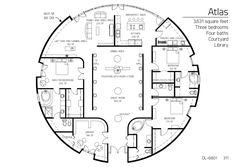 Floor Plan: DL-6801   Monolithic Dome Institute   Atlas Series dome home 3,231 square feet Three bedrooms Four baths Courtyard Library