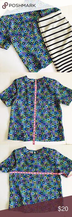 Eva Laurel Squire Vintage Abstract Multicolor Top This is very interesting vintage multicolored Top that will work well with either Dark wash jeans or pencil skirt. In good condition Tops Blouses