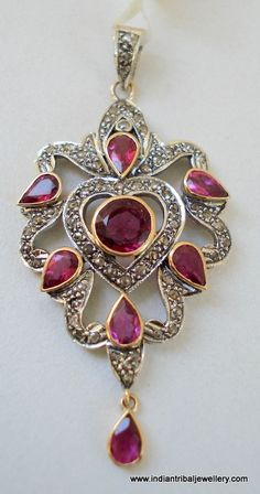 victorian diamond ruby 14k gold silver by indiantribaljewelry, $649.00