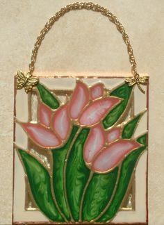 Cadeaux dart Rose tulipes vitrail panneau tulipe Wall Art