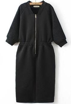 Black V Neck Long Sleeve Zipper Dress 43.33