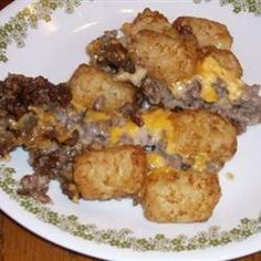 """Tatertot Casserole ... the image doesn't look very appealing, but I love Tater Tots and this recipe was recommended by a friend, so onto the """"Foods I Must Try!"""" list it goes!"""