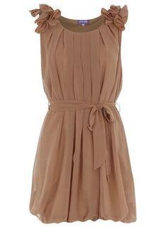 Taupe Ruffle Dress by kelseyinfo