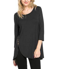 Black Side-Button Tunic #zulily #zulilyfinds