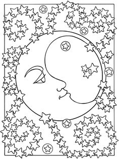 Sun, Moon and Stars Designs to Color: Dover Publications sample