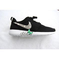 66d54230b85 Swarovski Nike Girls Preschool Black White Roshe Nike Roshe Run Customized  with SWAROVSKI® Crystals