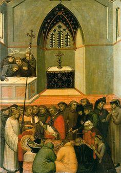 Pietro Lorenzetti (c. 1280 - 1348) Funeral of Humilitas Gold and tempera on panel, 1316 Galleria degli Uffizi, Florence, Italy