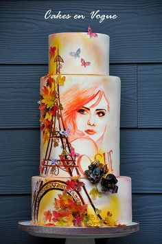 Fall in Paris - Cake by Cakes en Vogue - For all your edible paint supplies, please visit http://www.craftcompany.co.uk/ingredients/food-colouring/food-paints.html