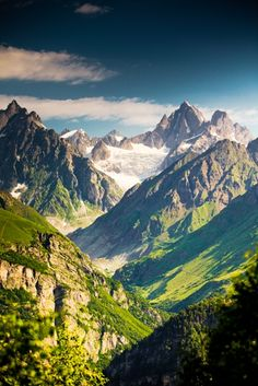 Beautiful valley in Caucasus mountains in Upper Svaneti, Georgia ... #Mountains