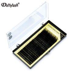 Dollylash 20 행/트레이 실크 속눈썹 j b c d 컬 믹스 길이 7-15 미리메터 실크 개별 속눈썹 확장 블랙 가짜 눈 속눈썹