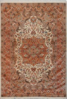 """Beige Persian Silk Isfahan Rug 4' 1"""" x 6' (ft) - No. 12081  http://alrug.com/beige-persian-silk-isfahan-rug-4-1-x-6-ft-no-12081.html"""
